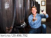 Купить «Man wine maker holding wineglass for tasting», фото № 29496792, снято 12 декабря 2018 г. (c) Яков Филимонов / Фотобанк Лори