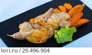 Купить «Teriyaki partridge with grilled carrots», фото № 29496904, снято 22 марта 2019 г. (c) Яков Филимонов / Фотобанк Лори