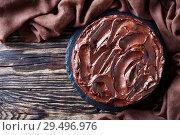 Купить «homemade chocolate Cake layered with Apricot jam», фото № 29496976, снято 24 ноября 2018 г. (c) Oksana Zh / Фотобанк Лори