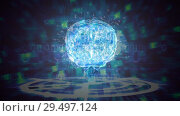 Купить «Science Composition Animated brain colored in blue and green», видеоролик № 29497124, снято 13 декабря 2018 г. (c) Wavebreak Media / Фотобанк Лори