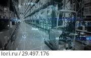 Купить «Warehouse Composition Lift truck in the warehouse combined with animation of connected th», видеоролик № 29497176, снято 20 мая 2019 г. (c) Wavebreak Media / Фотобанк Лори