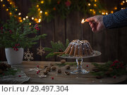 male hand sets fire to sparkler on christmas cake. Стоковое фото, фотограф Майя Крученкова / Фотобанк Лори