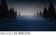 Купить «Video composition with snow over winter scenery at night», видеоролик № 29498016, снято 13 декабря 2018 г. (c) Wavebreak Media / Фотобанк Лори