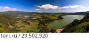 Купить «Aerial view to Furnas lake, Sao Migel, Azores, Portugal», фото № 29502920, снято 20 сентября 2015 г. (c) Сергей Майоров / Фотобанк Лори