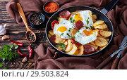 Купить «fried eggs with crunchy potatoes and sausages», фото № 29503824, снято 27 ноября 2018 г. (c) Oksana Zh / Фотобанк Лори