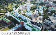 Купить «Aerial view of unique monastic complex of Trinity Lavra of St. Sergius, Sergiev Posad, Russia», видеоролик № 29508268, снято 28 июня 2018 г. (c) Яков Филимонов / Фотобанк Лори