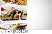 Купить «Looping video of seafood dishes», видеоролик № 29508296, снято 28 октября 2018 г. (c) Яков Филимонов / Фотобанк Лори