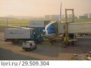 Купить «Самолет Боинг 737 авиакомпании KLM Royal Dutch Аирлинес  готовится к вылету в аэропорту Схипхол ранним солнечным утром. Амстердам, Нидерланды», фото № 29509304, снято 17 сентября 2017 г. (c) Виктор Карасев / Фотобанк Лори