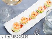 Купить «Grilled shrimps on rice balls», фото № 29509880, снято 19 января 2019 г. (c) Яков Филимонов / Фотобанк Лори