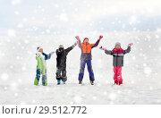 Купить «happy little kids playing outdoors in winter», фото № 29512772, снято 10 февраля 2018 г. (c) Syda Productions / Фотобанк Лори