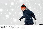 Купить «happy little boy with sled in winter outdoors», фото № 29512916, снято 10 февраля 2018 г. (c) Syda Productions / Фотобанк Лори