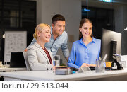 Купить «business team with computer working late at office», фото № 29513044, снято 6 декабря 2017 г. (c) Syda Productions / Фотобанк Лори