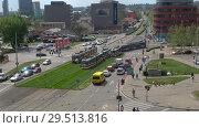 Купить «Трамвайное движение в современном Брно солнечным весенним днем. Чехия», видеоролик № 29513816, снято 24 апреля 2018 г. (c) Виктор Карасев / Фотобанк Лори