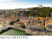Купить «View from drone of Cathedral, Basilica and Saone, Lyon», фото № 29513912, снято 12 октября 2018 г. (c) Яков Филимонов / Фотобанк Лори