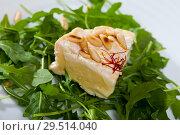 Купить «Camembert cheese with pine nuts and arugula», фото № 29514040, снято 14 июля 2020 г. (c) Яков Филимонов / Фотобанк Лори