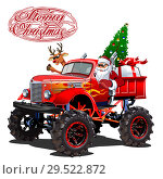 Купить «Vector Christmas card with cartoon retro Christmas monstertruck», иллюстрация № 29522872 (c) Александр Володин / Фотобанк Лори