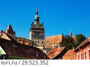 Купить «Illustration of Clock tower from streets of Sighisoara», фото № 29523352, снято 16 сентября 2017 г. (c) Яков Филимонов / Фотобанк Лори