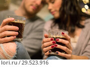 Купить «close up of happy couple drinking coffee at home», фото № 29523916, снято 13 января 2018 г. (c) Syda Productions / Фотобанк Лори