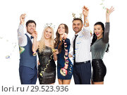 Купить «friends at christmas party throwing serpentine», фото № 29523936, снято 3 марта 2018 г. (c) Syda Productions / Фотобанк Лори
