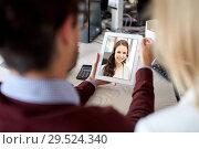 Купить «business team having video call on tablet pc», фото № 29524340, снято 1 октября 2016 г. (c) Syda Productions / Фотобанк Лори