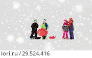 Купить «happy little kids with sleds in winter», фото № 29524416, снято 10 февраля 2018 г. (c) Syda Productions / Фотобанк Лори