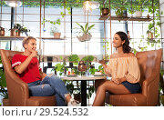Купить «female friends drinking tea and talking at cafe», фото № 29524532, снято 7 августа 2018 г. (c) Syda Productions / Фотобанк Лори