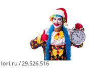 Купить «Young funny clown comedian isolated on white», фото № 29526516, снято 20 июля 2018 г. (c) Elnur / Фотобанк Лори