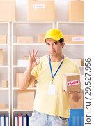 Купить «Handsome contractor working in box delivery relocation service», фото № 29527956, снято 24 июля 2018 г. (c) Elnur / Фотобанк Лори