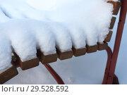 Купить «Садовая скамейка в пушистом снегу», эксклюзивное фото № 29528592, снято 28 ноября 2018 г. (c) Анатолий Матвейчук / Фотобанк Лори