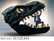 Купить «Businessman in the jaws of debt and loan», фото № 29528864, снято 15 декабря 2018 г. (c) Elnur / Фотобанк Лори