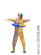 Купить «Funny clown isolated on white background», фото № 29528940, снято 28 сентября 2018 г. (c) Elnur / Фотобанк Лори