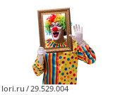 Купить «Funny clown isolated on white background», фото № 29529004, снято 28 сентября 2018 г. (c) Elnur / Фотобанк Лори