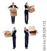 Купить «Woman businesswoman with boxes on white», фото № 29529112, снято 22 августа 2013 г. (c) Elnur / Фотобанк Лори