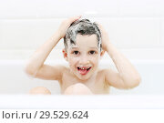 Купить «Happy funny little boy washes his hair with shampoo», фото № 29529624, снято 21 августа 2018 г. (c) ivolodina / Фотобанк Лори