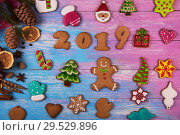 Купить «Gingerbreads for new 2019 years», фото № 29529896, снято 15 ноября 2016 г. (c) Jan Jack Russo Media / Фотобанк Лори