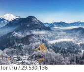 Купить «Top view of Hohenschwangau castle in the Bavarian Alps in winter, Bavaria, Germany», фото № 29530136, снято 20 декабря 2012 г. (c) Наталья Волкова / Фотобанк Лори
