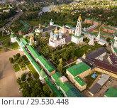 Купить «Panoramic aerial view of Trinity-Sergius Lavra in Sergiev Posad», фото № 29530448, снято 9 июня 2018 г. (c) Яков Филимонов / Фотобанк Лори