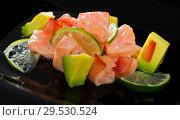 Купить «Citrus avocado salmon ceviche», фото № 29530524, снято 16 июля 2019 г. (c) Яков Филимонов / Фотобанк Лори