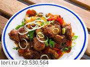 Купить «Stewed meat with vegetables and mushrooms», фото № 29530564, снято 23 апреля 2019 г. (c) Яков Филимонов / Фотобанк Лори
