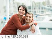 Купить «couple hugging outdoors at spring day», фото № 29530688, снято 16 декабря 2018 г. (c) Яков Филимонов / Фотобанк Лори