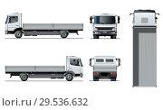 Купить «Vector flatbed truck template isolated on white», иллюстрация № 29536632 (c) Александр Володин / Фотобанк Лори
