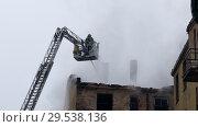 Купить «Silhouette of firefighter fighting fire», видеоролик № 29538136, снято 6 декабря 2018 г. (c) Ints VIkmanis / Фотобанк Лори