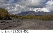 Купить «Motorcycle driving on mountain road on volcanic dry river», видеоролик № 29539452, снято 27 сентября 2018 г. (c) А. А. Пирагис / Фотобанк Лори
