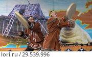 Купить «Incendiary dance of indigenous inhabitants of Kamchatka with tambourine», видеоролик № 29539996, снято 4 ноября 2018 г. (c) А. А. Пирагис / Фотобанк Лори