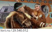 Купить «Incendiary dance of indigenous inhabitants of Kamchatka with tambourine», видеоролик № 29540012, снято 4 ноября 2018 г. (c) А. А. Пирагис / Фотобанк Лори