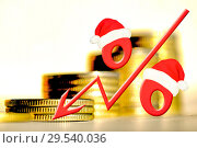 Купить «Красный знак процента на фоне денег», фото № 29540036, снято 12 февраля 2020 г. (c) Сергеев Валерий / Фотобанк Лори