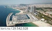 Купить «Shoreline of Barcelona is colorful landmark of Spain outdoors.», видеоролик № 29542028, снято 27 июня 2018 г. (c) Яков Филимонов / Фотобанк Лори