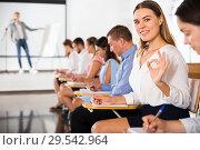 Купить «Side view of girl gesturing ok sign», фото № 29542964, снято 25 июля 2018 г. (c) Яков Филимонов / Фотобанк Лори