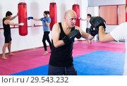 Купить «Sportsmen competing in boxing gloves», фото № 29543232, снято 5 мая 2017 г. (c) Яков Филимонов / Фотобанк Лори
