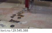 Купить «CNC machine for waterjet», видеоролик № 29545388, снято 26 октября 2018 г. (c) Андрей Радченко / Фотобанк Лори